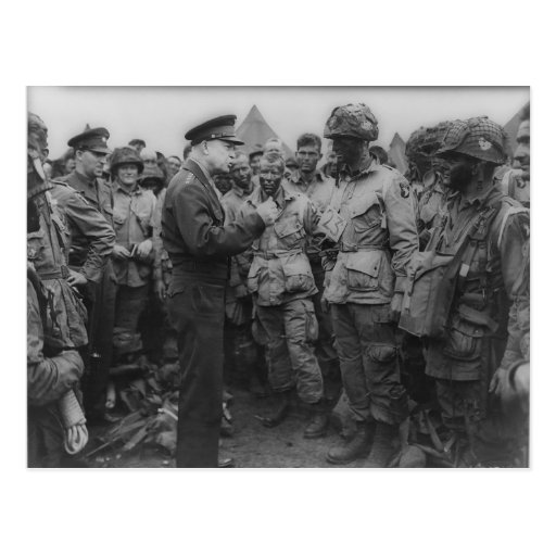 General Dwight D. Eisenhower with Paratroopers Postcard