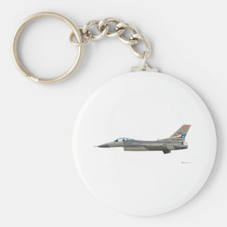 General Dynamics F-16D Fighting Falcon Tex ANG col Basic Round Button Keychain