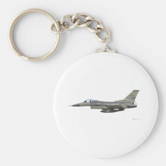 General Dynamics F-16D Fighting Falcon Tex ANG sub Basic Round Button Keychain