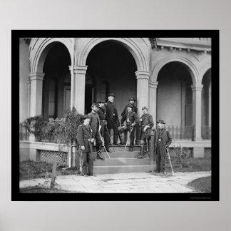 General Edwin Sumner & Staff in Warrenton, VA 1862 Poster