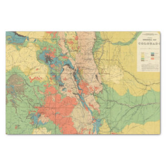 """General Geological Map of Colorado 10"""" X 15"""" Tissue Paper"""