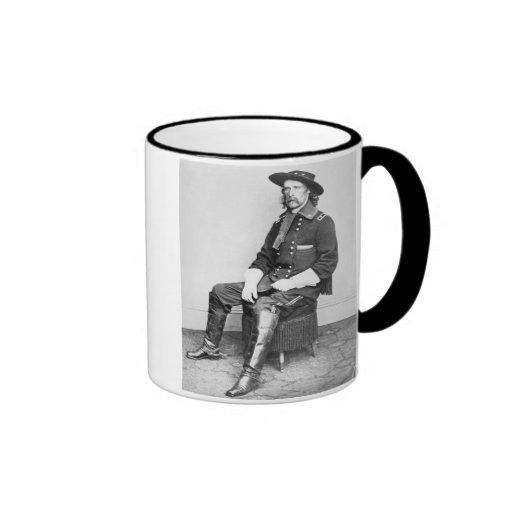 General George A. Custer (b/w photo) Ringer Coffee Mug