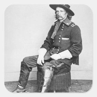 General George A. Custer (foto de b/w) Calcomanías Cuadradas Personalizadas