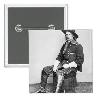 General George A. Custer (foto de b/w) Pin Cuadrado