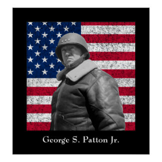 General George S. Patton and The U.S. Flag Poster