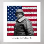 General George S. Patton y la bandera de los E.E.U Póster