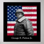 General George S. Patton y la bandera de los Póster