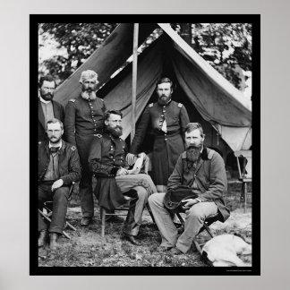 General George Stoneman & Staff at Fair Oaks 1862 Poster