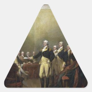 General George Washington que dimite a su Comisión Pegatina Triangular