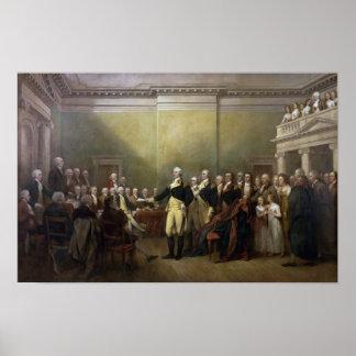 General George Washington que dimite a su Comisión Póster