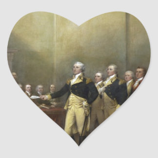 General George Washington Resigning His Commission Heart Sticker