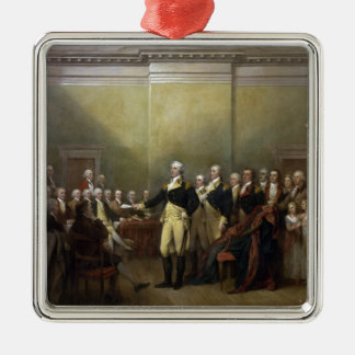 General George Washington Resigning His Commission Square Metal Christmas Ornament