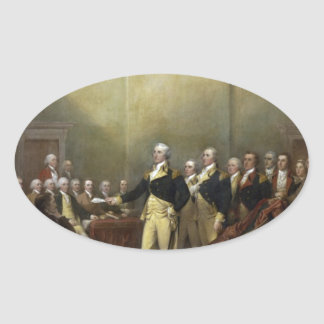 General George Washington Resigning His Commission Oval Sticker