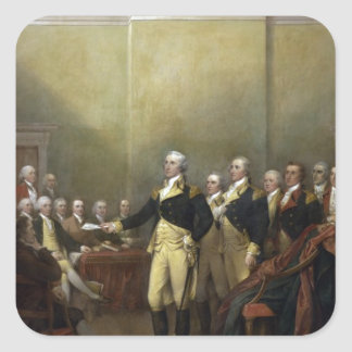 General George Washington Resigning His Commission Square Sticker