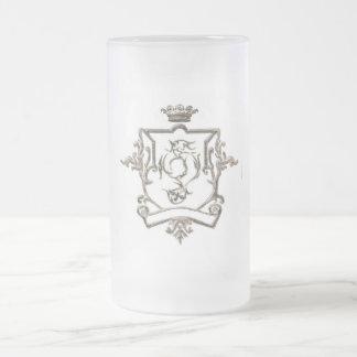 GENERAL GOLDER ANTIQUED CREST CUP 16 OZ FROSTED GLASS BEER MUG