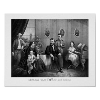 General Grant And His Family -- Civil War Poster