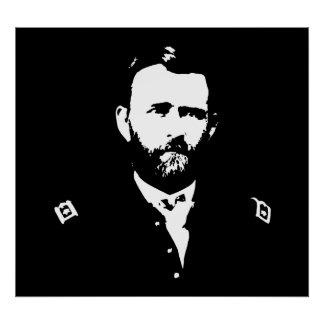 General Grant -- Black and White Poster