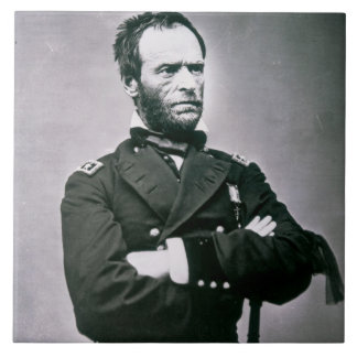 General Guillermo T. Sherman (1820-91) (foto de b/ Azulejo Cuadrado Grande