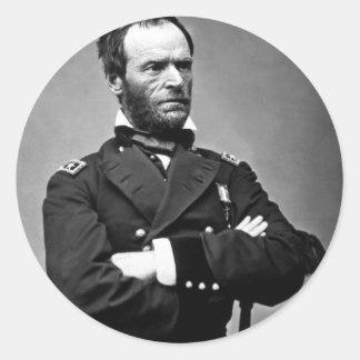General Guillermo TECUMSEH Sherman, 1865. Pegatina Redonda