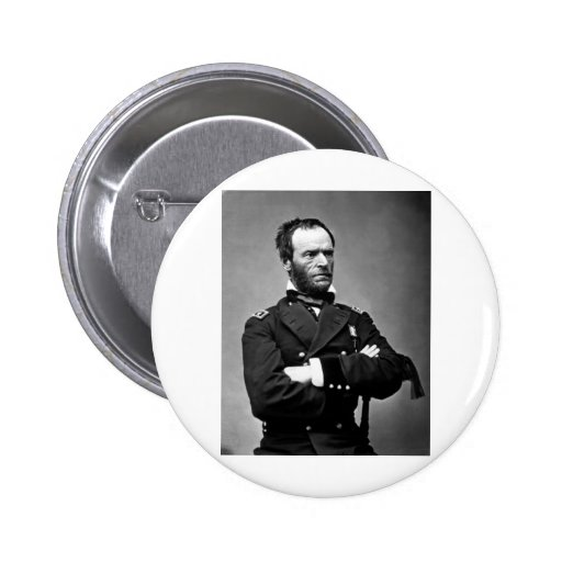 General Guillermo TECUMSEH Sherman, 1865. Pin Redondo 5 Cm