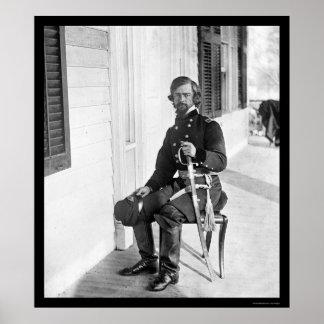 General Isaac I. Stevens en Beaufort, SC 1862 Póster