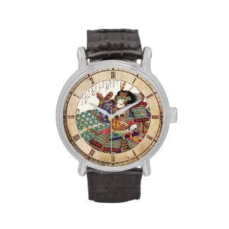 General japonés del guerrero del samurai del reloj de mano