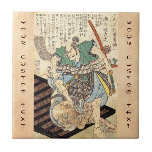 General japonés del guerrero del samurai del vinta azulejo cuadrado pequeño
