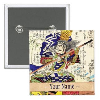 General japonés del guerrero del samurai del vinta pin cuadrada 5 cm