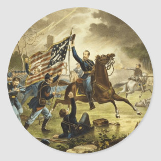 General Kearny's Charge in the Battle of Chantilly Classic Round Sticker