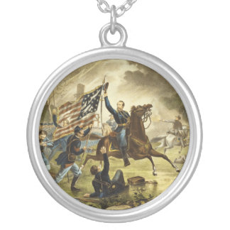General Kearny's Charge in the Battle of Chantilly Round Pendant Necklace