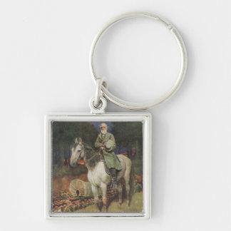 General Lee en su cargador famoso, 'Traveller Llavero Cuadrado Plateado