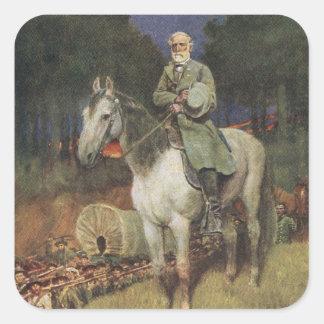 General Lee en su cargador famoso, 'Traveller Pegatina Cuadrada
