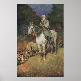 General Lee en su cargador famoso, 'Traveller Póster