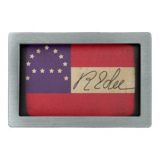 General Lee Headquarters Flag con la firma Hebillas Cinturon Rectangulares
