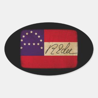 General Lee Headquarters Flag con la firma Pegatina Ovalada