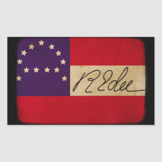 General Lee Headquarters Flag con la firma Pegatina Rectangular