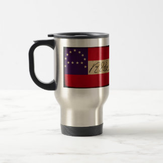 General Lee Headquarters Flag with Signature 15 Oz Stainless Steel Travel Mug
