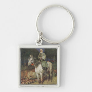 General Lee on his Famous Charger, 'Traveller' Silver-Colored Square Keychain