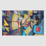 General legendario antiguo japonés oriental fresco rectangular pegatina