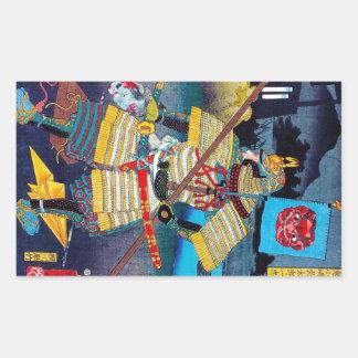General legendario antiguo japonés oriental fresco rectangular pegatinas