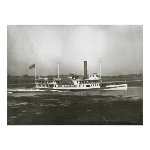General Lincoln Steamboat off Massachusetts Coast Poster