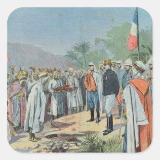 General Lyautey received surrender of rebel Square Sticker