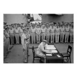 General MacArthur Signing The Japanese Surrender Poster
