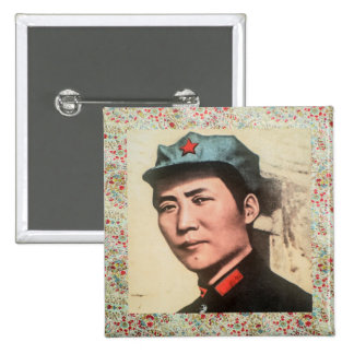 General Mao Zedong button w/floral print