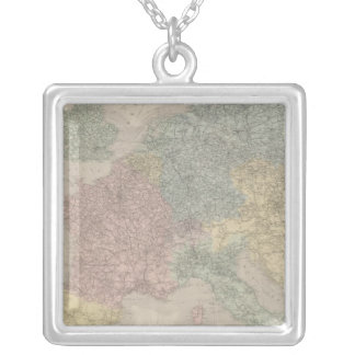 General map of European Railways Silver Plated Necklace
