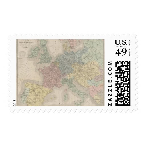 General map of European Railways Stamp