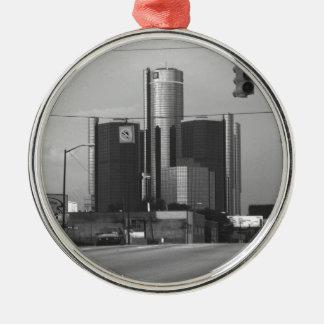 General Motors Headquarters Round Metal Christmas Ornament