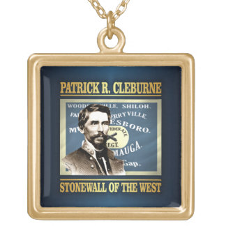 General Patrick R Cleburne Square Pendant Necklace