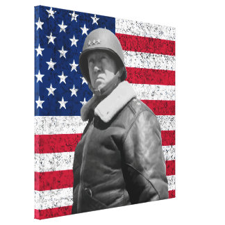 General Patton and The American Flag Canvas Print