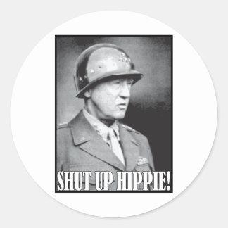 ¡General Patton dice encierrado al Hippie! Pegatina Redonda